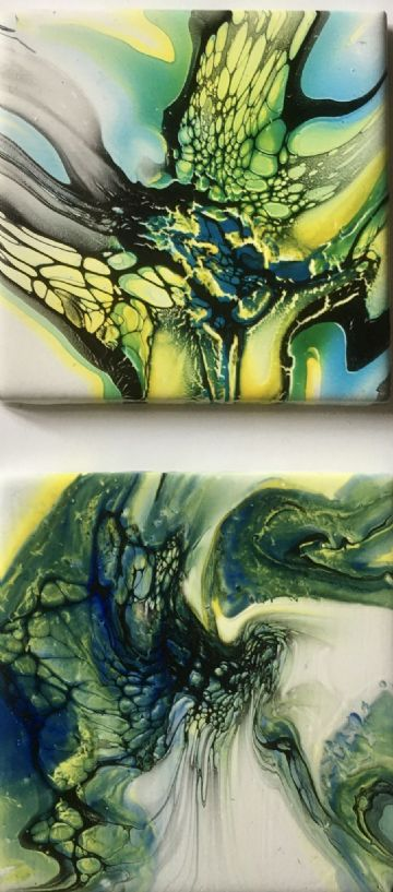 Set of 2 Hand Painted Ceramic Coasters Green & Yellow made in UK